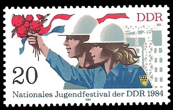 20 Pf Briefmarke: Nationales Jugendfestival der DDR 1984, Mitglieder der FDJ