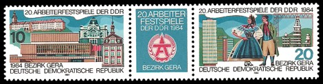 Briefmarke: Dreierstreifen - 20. Arbeiterfestspiele