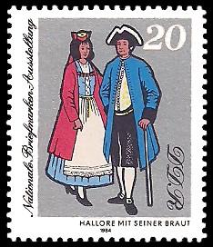 20 Pf Briefmarke: Nationale Briefmarken-Ausstellung, Hallore mit Braut