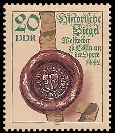 20 Pf Briefmarke: Historische Siegel, Siegel der Wollweber zu Cölln