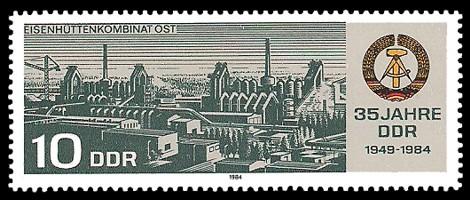 10 Pf Briefmarke: 35 Jahre DDR, Eisenhüttenkombinat Ost