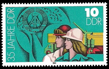 10 Pf Briefmarke: 35 Jahre DDR, Wohnungsbau