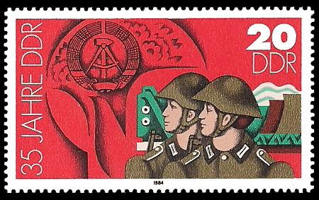 20 Pf Briefmarke: 35 Jahre DDR, Landesverteidigung