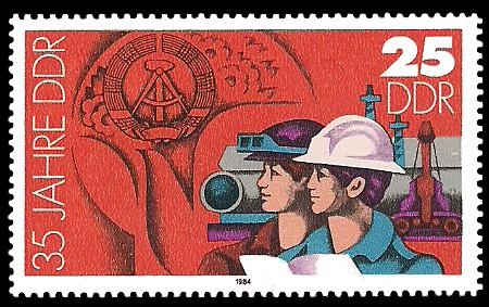 25 Pf Briefmarke: 35 Jahre DDR, Industriearbeiter
