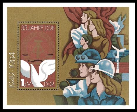 Briefmarke: Block - 35 Jahre DDR, Arbeiten u Leben in Frieden