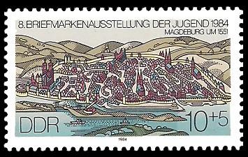 10 + 5 Pf Briefmarke: 8. Briefmarkenausstellung der Jugend 1984, Magdeburg um 1551