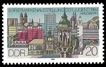 20 Pf Briefmarke: 8. Briefmarkenausstellung der Jugend, Magdeburg 1984