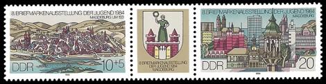 Briefmarke: Dreierstreifen - 8. Briefmarkenausstellung der Jugend 1984