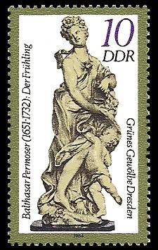 10 Pf Briefmarke: Grünes Gewölbe Dresden, Elfenbeinskulptur Der Frühling