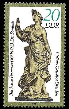 20 Pf Briefmarke: Grünes Gewölbe Dresden, Elfenbeinskulptur Der Sommer