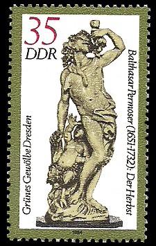 35 Pf Briefmarke: Grünes Gewölbe Dresden, Elfenbeinskulptur Der Herbst