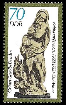 70 Pf Briefmarke: Grünes Gewölbe Dresden, Elfenbeinskulptur Der Winter