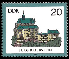 20 Pf Briefmarke: Burgen der DDR, Burg Kriebstein