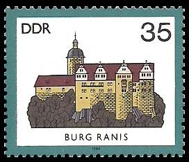 35 Pf Briefmarke: Burgen der DDR, Burg Ranis