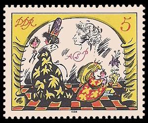 5 Pf Briefmarke: Märchen - von der toten Zarentochter und den 7 Recken