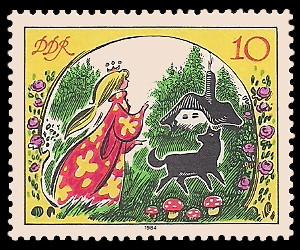 10 Pf Briefmarke: Märchen - von der toten Zarentochter und den 7 Recken