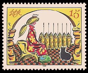 15 Pf Briefmarke: Märchen - von der toten Zarentochter und den 7 Recken