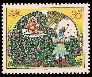 35 Pf Briefmarke: Märchen - von der toten Zarentochter und den 7 Recken