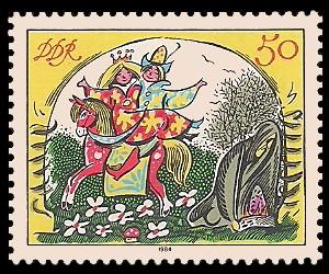 50 Pf Briefmarke: Märchen - von der toten Zarentochter und den 7 Recken