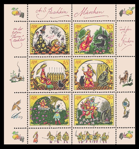 Briefmarke: Kleinbogen - Märchen - von der toten Zarentochter und den 7 Recken