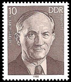 10 Pf Briefmarke: Verdienstvolle Persönlichkeiten der Arbeiterbewegung, Alfred Kurella
