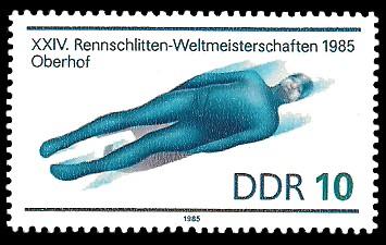 10 Pf Briefmarke: XXIV. Rennschlitten-Weltmeisterschaft 1985