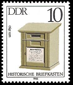 10 Pf Briefmarke: Historische Briefkästen, Briefkasten um 1850