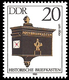 20 Pf Briefmarke: Historische Briefkästen, Post-Briefkasten um 1860