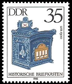 35 Pf Briefmarke: Historische Briefkästen, Postbriefkasten um 1900