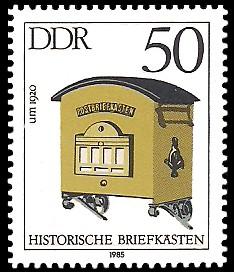 50 Pf Briefmarke: Historische Briefkästen, Postbriefkasten um 1920