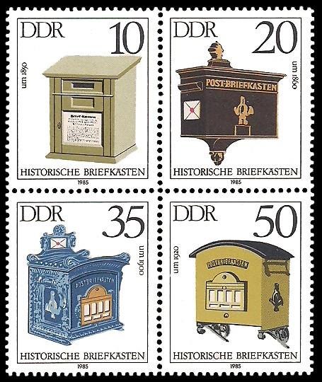 Briefmarke: Viererblock - Historische Briefkästen