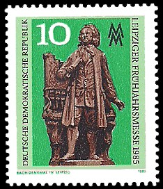 10 Pf Briefmarke: Leipziger Frühjahrsmesse 1985, Bach-Denkmal