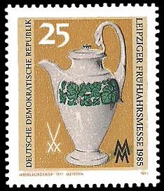 25 Pf Briefmarke: Leipziger Frühjahrsmesse 1985, Kanne mit Weinlaubdekor