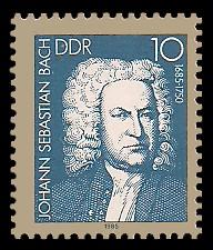 10 Pf Briefmarke: Bach-Händel-Schütz-Ehrung, Johann Sebastian Bach