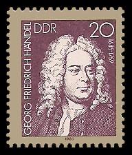 20 Pf Briefmarke: Bach-Händel-Schütz-Ehrung, Georg Friedrich Händel