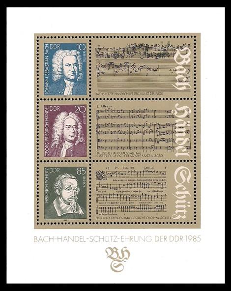 Briefmarke: Block - Bach-Händel-Schütz-Ehrung der DDR 1985