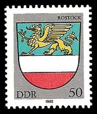 50 Pf Briefmarke: Stadtwappen von Rostock