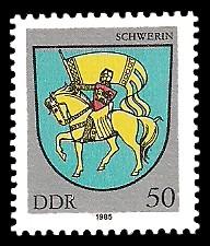 50 Pf Briefmarke: Stadtwappen von Schwerin