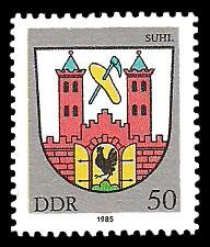 50 Pf Briefmarke: Stadtwappen von Suhl