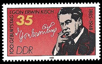 35 Pf Briefmarke: 100. Geburtstag Egon Erwin Kisch