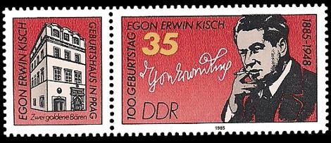 Briefmarke: 100. Geburtstag Egon Erwin Kisch - mit Zierfeld