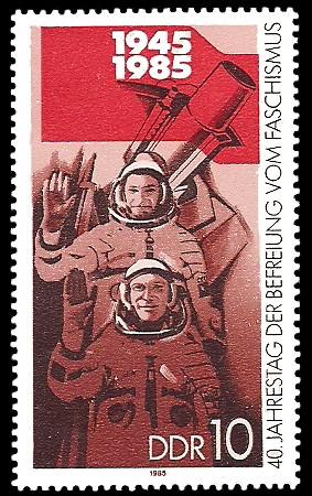 10 Pf Briefmarke: 40. Jahrestag der Befreiung vom Faschismus, Weltraumflug