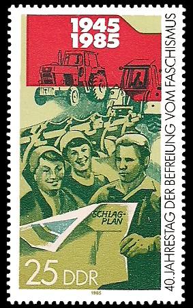 25 Pf Briefmarke: 40. Jahrestag der Befreiung vom Faschismus, Landwirtschaft