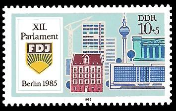 10 + 5 Pf Briefmarke: XII. Parlament der FDJ, Berliner Bauten