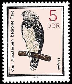 5 Pf Briefmarke: Vom Aussterben bedrohte Tiere, Harpyie