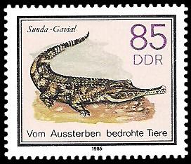 85 Pf Briefmarke: Vom Aussterben bedrohte Tiere, Sunda-Gavial