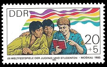 20 + 5 Pf Briefmarke: XII. Weltfestspiele der Jugend und Studenten, FDJ-ler beim Lesen