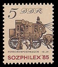 5 Pf Briefmarke: Sozphilex '85, Personenpostwagen
