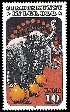 10 Pf Briefmarke: Zirkuskunst in der DDR, Elefanten
