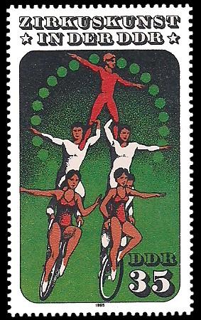 35 Pf Briefmarke: Zirkuskunst in der DDR, Einrad
